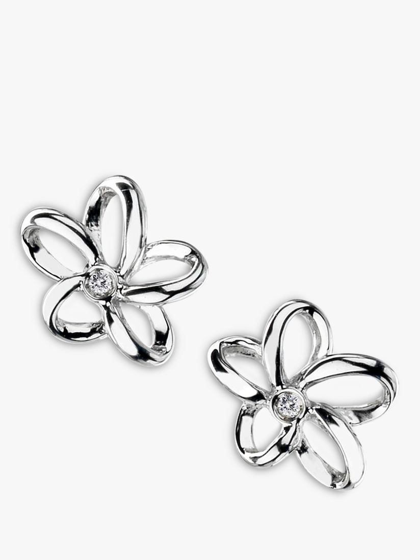 Hot Diamonds Hot Diamonds Paradise Plumeria Floral Diamond Stud Earrings, Silver