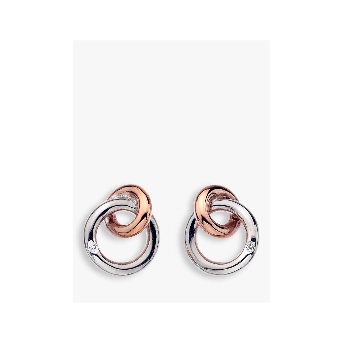 Hot Diamonds Eternity Interlock Stud Earrings Silver Rose Gold Online At Johnlewis
