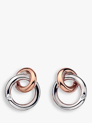 Hot Diamonds Eternity Interlock Stud Earrings, Silver/Rose Gold