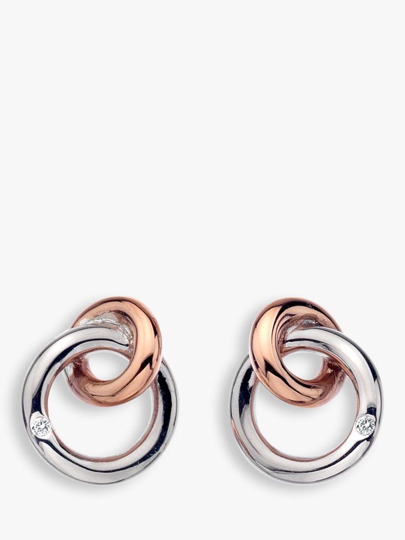 Hot Diamonds Hot Diamonds Eternity Interlock Stud Earrings, Silver/Rose Gold