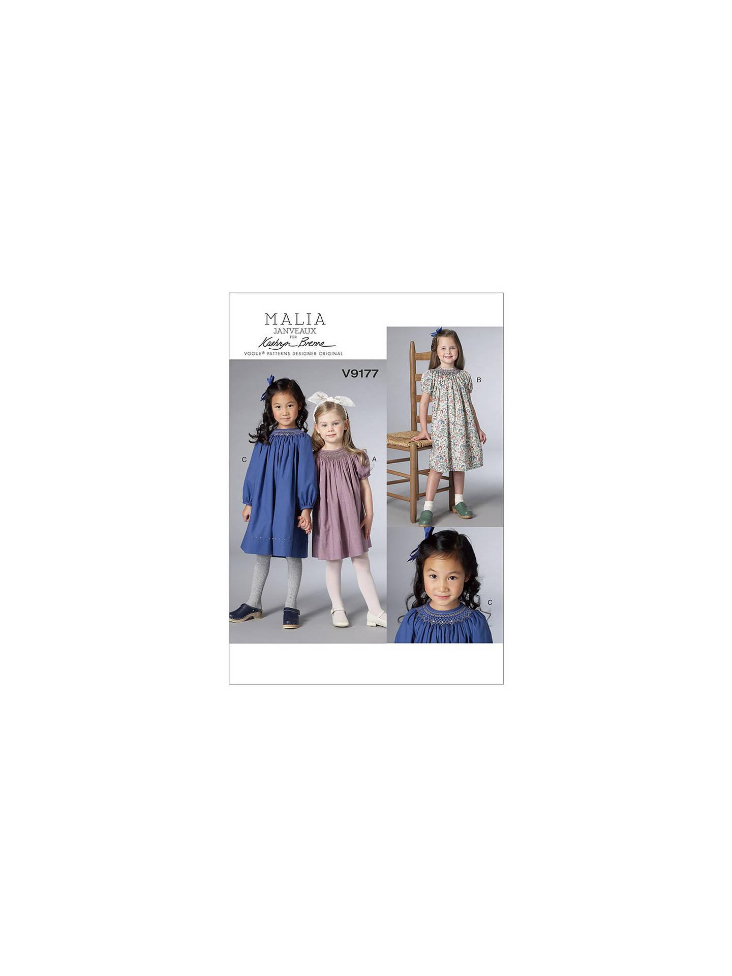 Vogue Children\'s Dresses Sewing Pattern, 9177 at John Lewis & Partners
