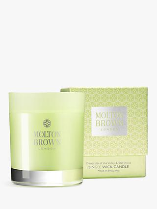 Molton Brown Dewy Lily of the Valley & Star Anise Single Wick Scented Candle, 180g