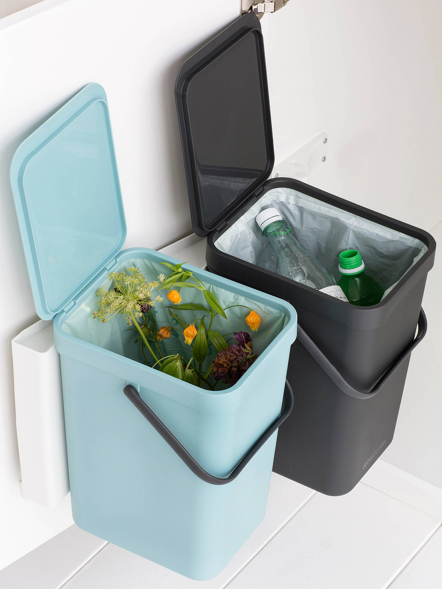 BuyBrabantia Sort & Go Built-In Bin, Grey / Mint, 2 x 16L Online at johnlewis.com