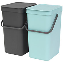 Buy Brabantia Sort & Go Built-In Bin, Grey / Mint, 2 x 12L Online at johnlewis.com