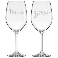 Buy kate spade new york Two Of A Kind 'Mine & Yours' Wine Glasses, Set of 2 Online at johnlewis.com