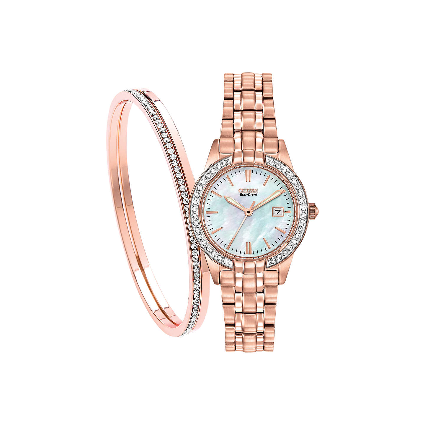 lyst link bracelet round watches no color product goldtone accessories watch womens dkny gallery crystal