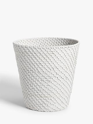 Croft Collection Rattan Waste Paper Bin, White