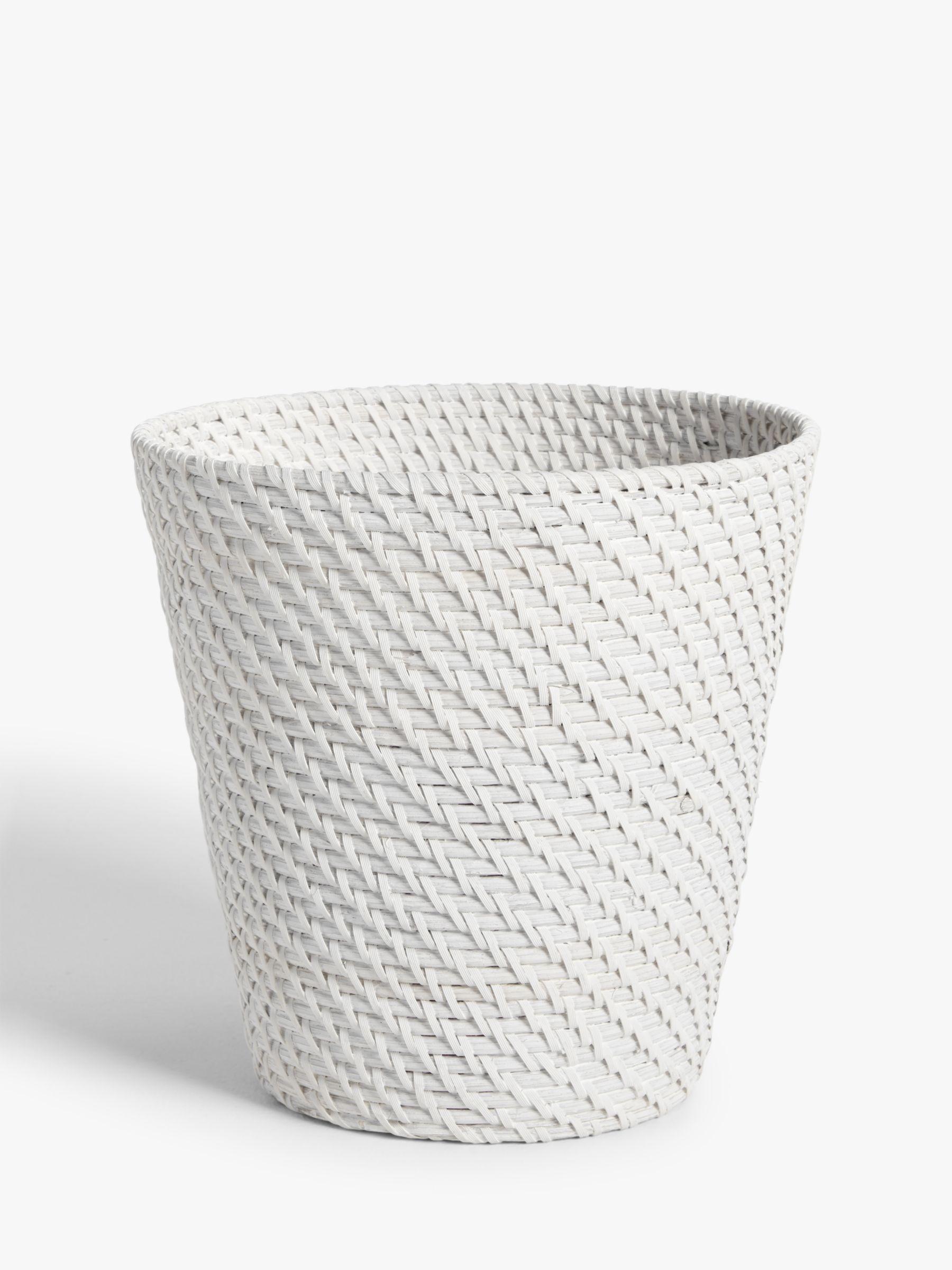 John Lewis & Partners Modern Country Rattan Waste Paper Bin, White