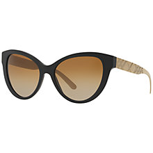 Buy Burberry BR4220 Polarised Gradient Cat's Eye Sunglasses, Black Online at johnlewis.com