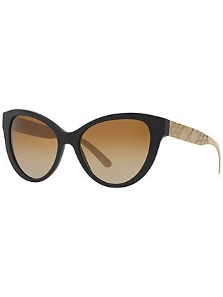Burberry BR4220 Polarised Gradient Cat's Eye Sunglasses, Black