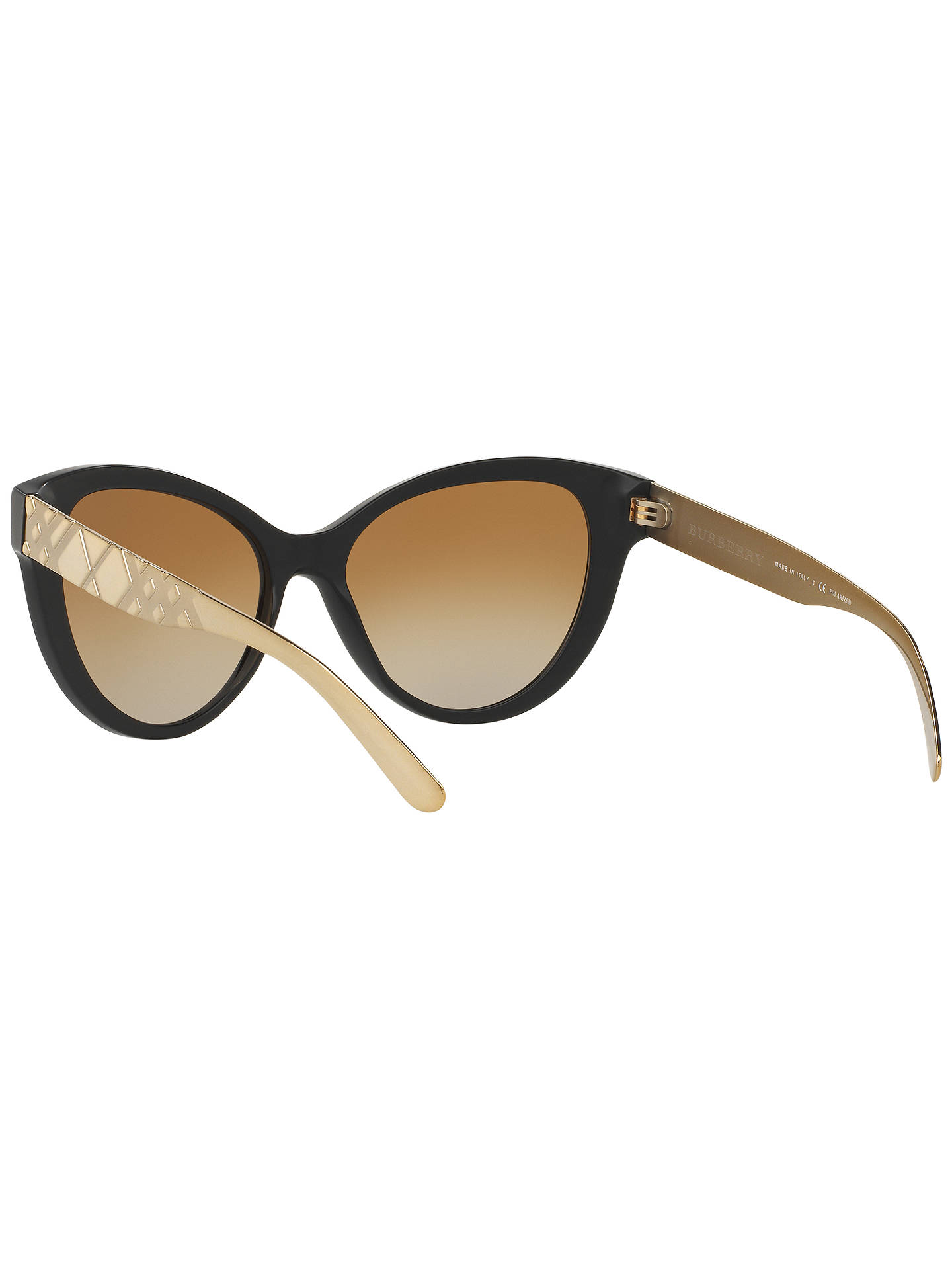 BuyBurberry BR4220 Polarised Gradient Cat's Eye Sunglasses, Black Online at johnlewis.com