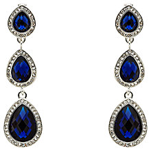 Buy Monet 3 Crystal Clip-On Drop Earrings, Silver/Sapphire Blue Online at johnlewis.com