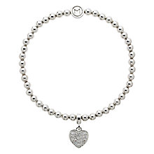Buy Melissa Odabash Crystal Heart Bracelet, Silver Online at johnlewis.com