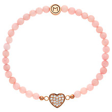 Buy Melissa Odabash Quartz Bead and Heart Bracelet, Pink Online at johnlewis.com