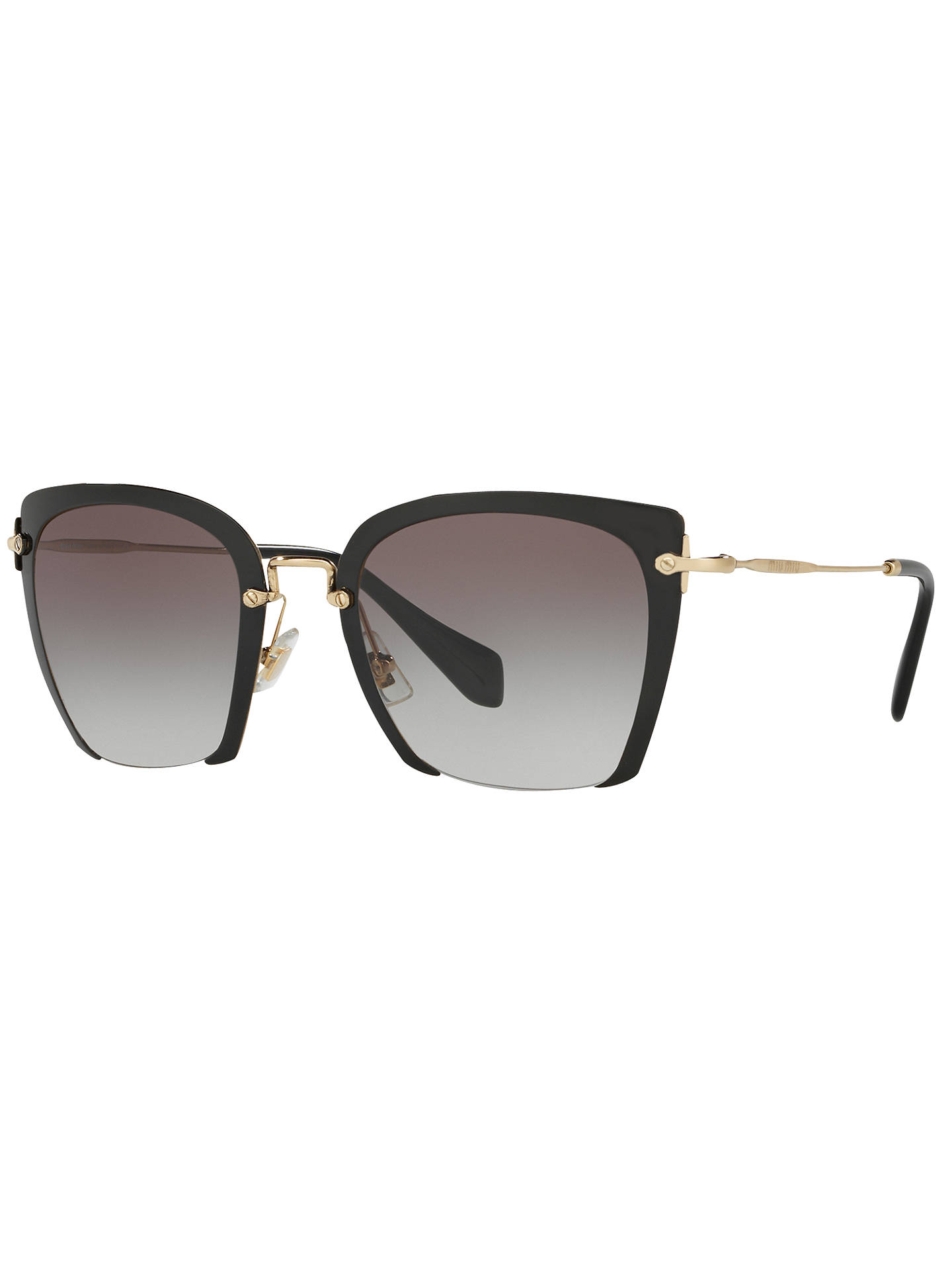 fb9a97902f77 Buy Miu Miu MU52RS Women's Square Sunglasses, Black/Grey Gradient Online at  johnlewis.