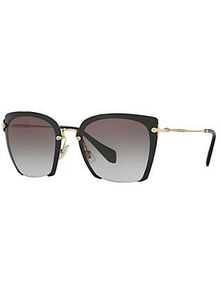 Miu Miu MU52RS Women's Square Sunglasses, Black/Grey Gradient