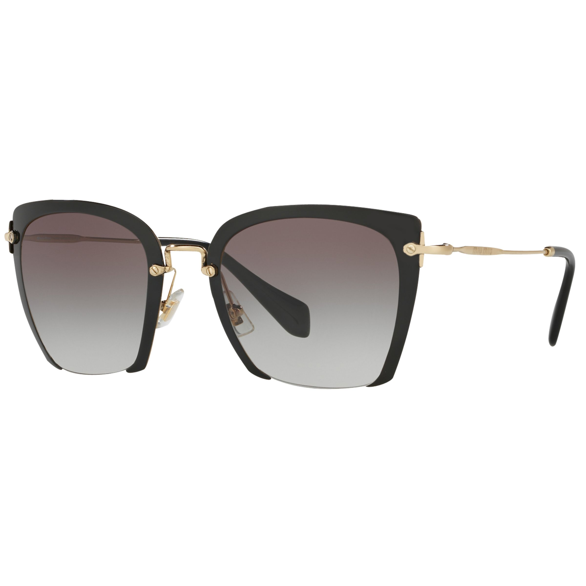 Miu Miu Miu Miu MU52RS Women's Square Sunglasses, Black/Grey Gradient