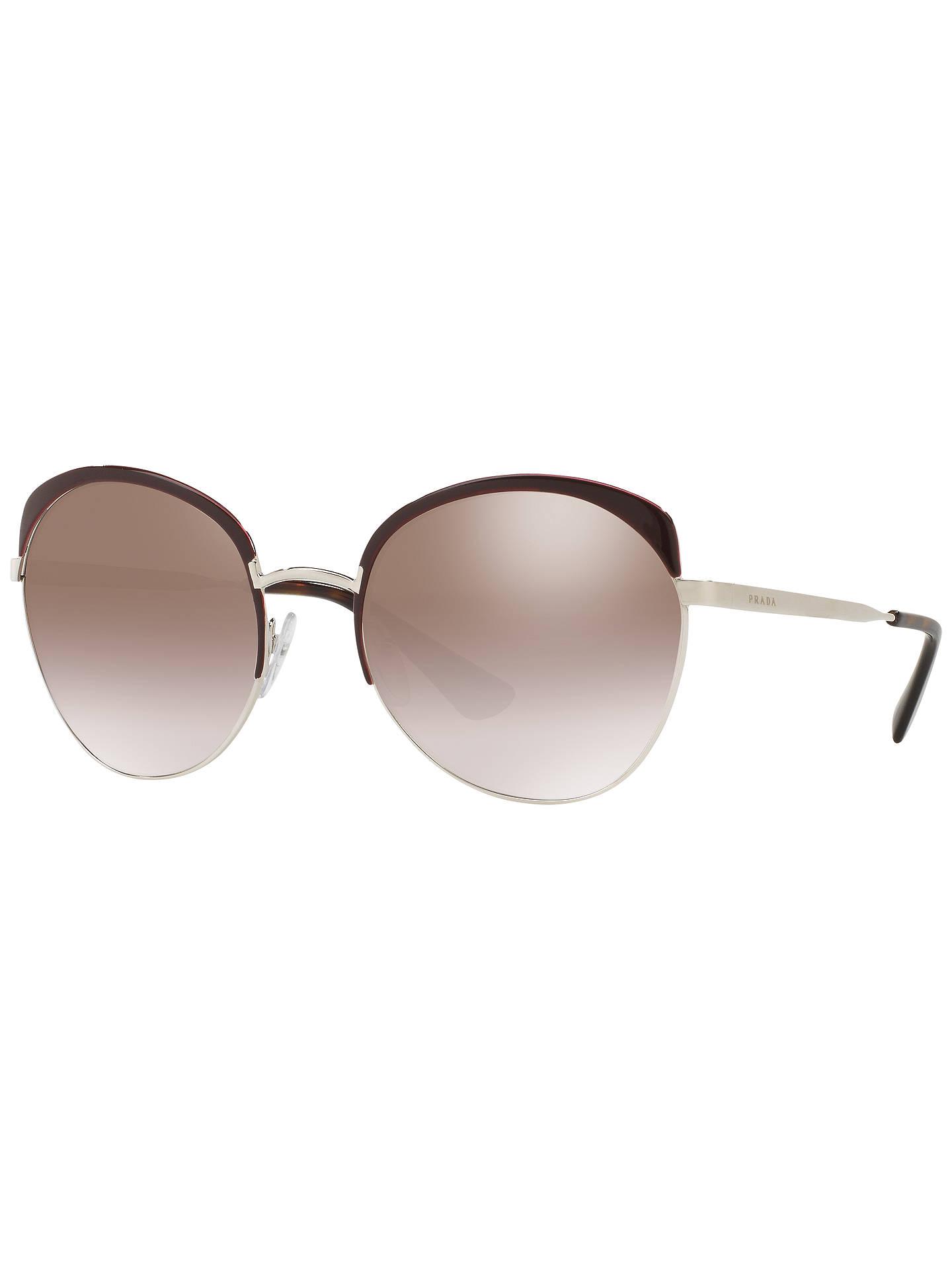6a3a33b5e Buy Prada PR 54SS Round Half Frame Sunglasses, Silver Online at  johnlewis.com ...