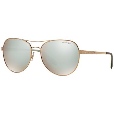 Tiffany & Co TF3051B Aviator Sunglasses, Rose Gold/Silver
