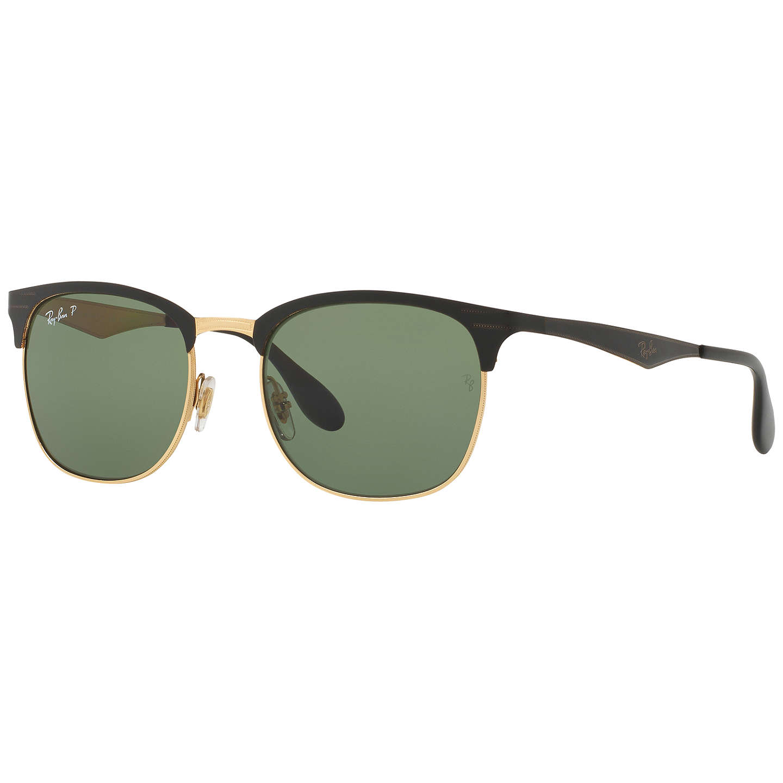 Ray-Ban RB3538 Half Frame Polarised Square Sunglasses, Black at John ...