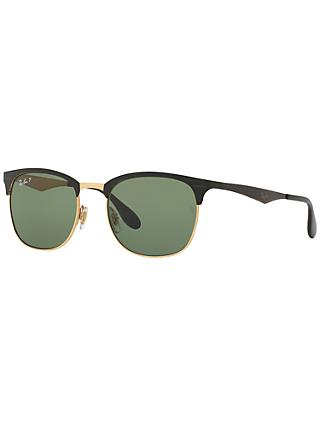 Ray-Ban RB3538 Half Frame Polarised Square Sunglasses, Black