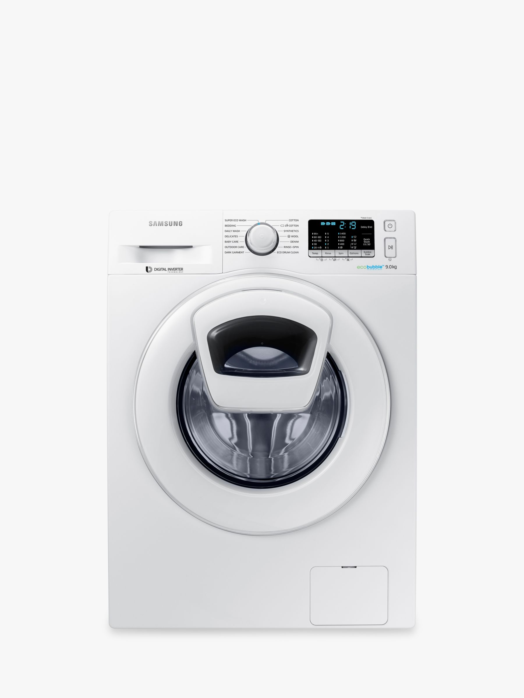 Samsung Samsung AddWash WW90K5410WW/EU Washing Machine, 9kg Load, A+++ Energy Rating, 1400rpm Spin, White