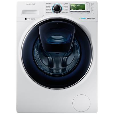 Samsung AddWash WW12K8412OW/EU Washing Machine, 12kg Load, A+++ Energy Rating, 1400rpm Spin, White
