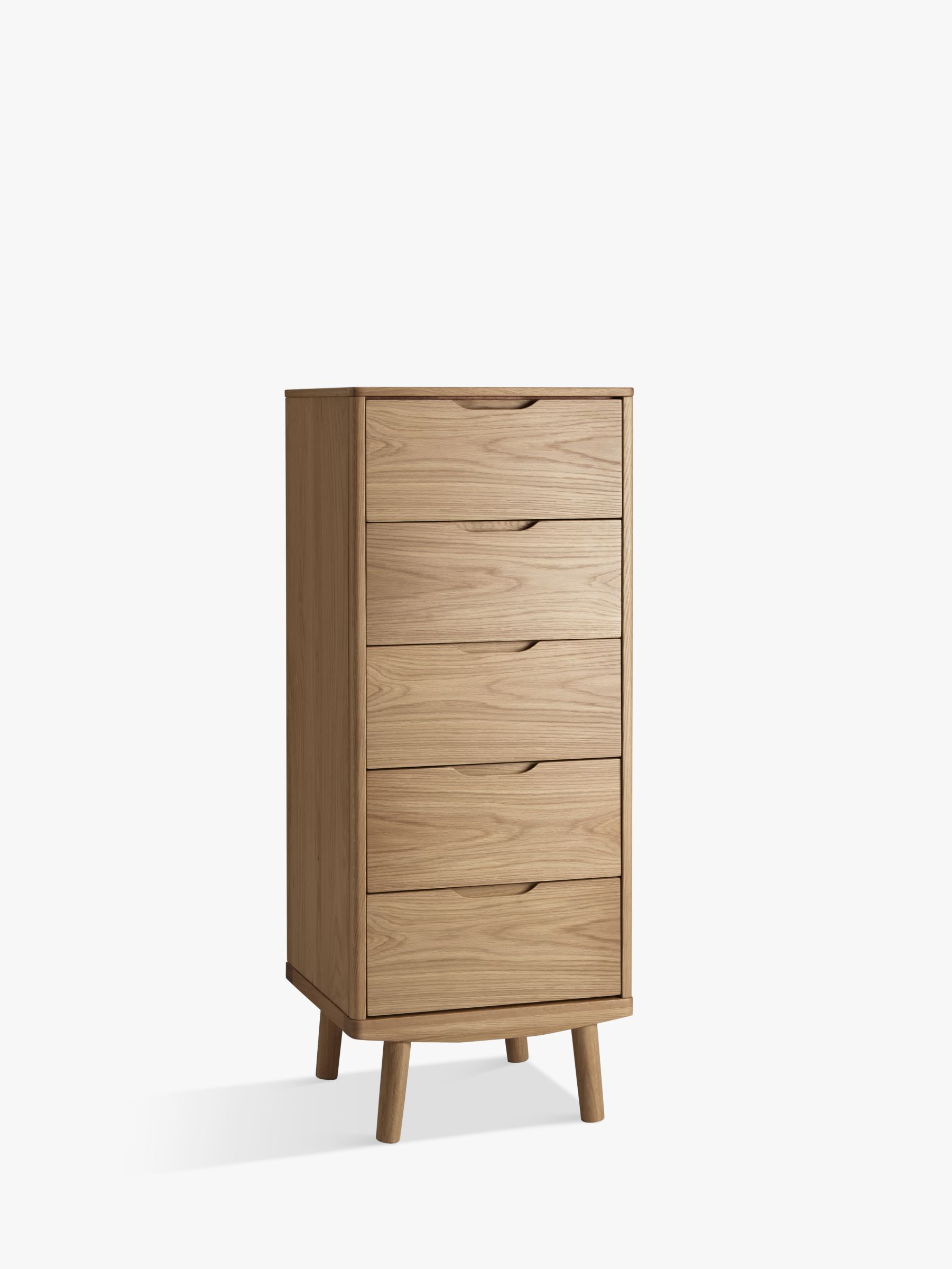 House By John Lewis Bow 5 Drawer Tall Boy Chest Oak