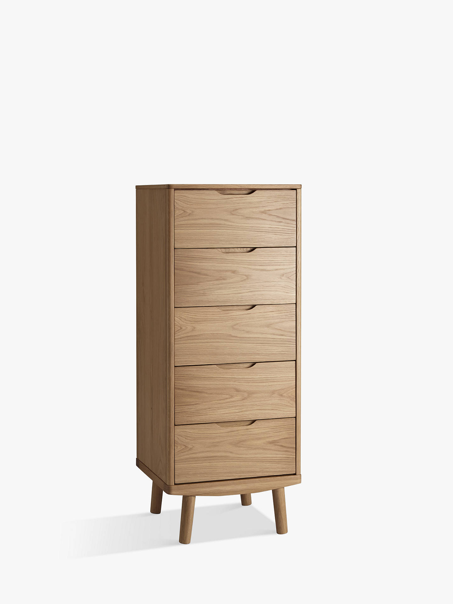 c6bfe90c1c98 Buy House by John Lewis Bow 5 Drawer Tall Boy Chest, Oak Online at  johnlewis ...
