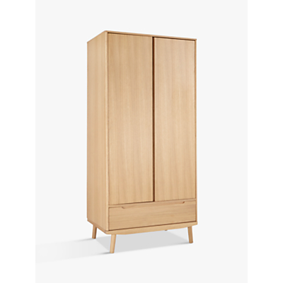 House by John Lewis Bow 2 Door Wardrobe, Oak