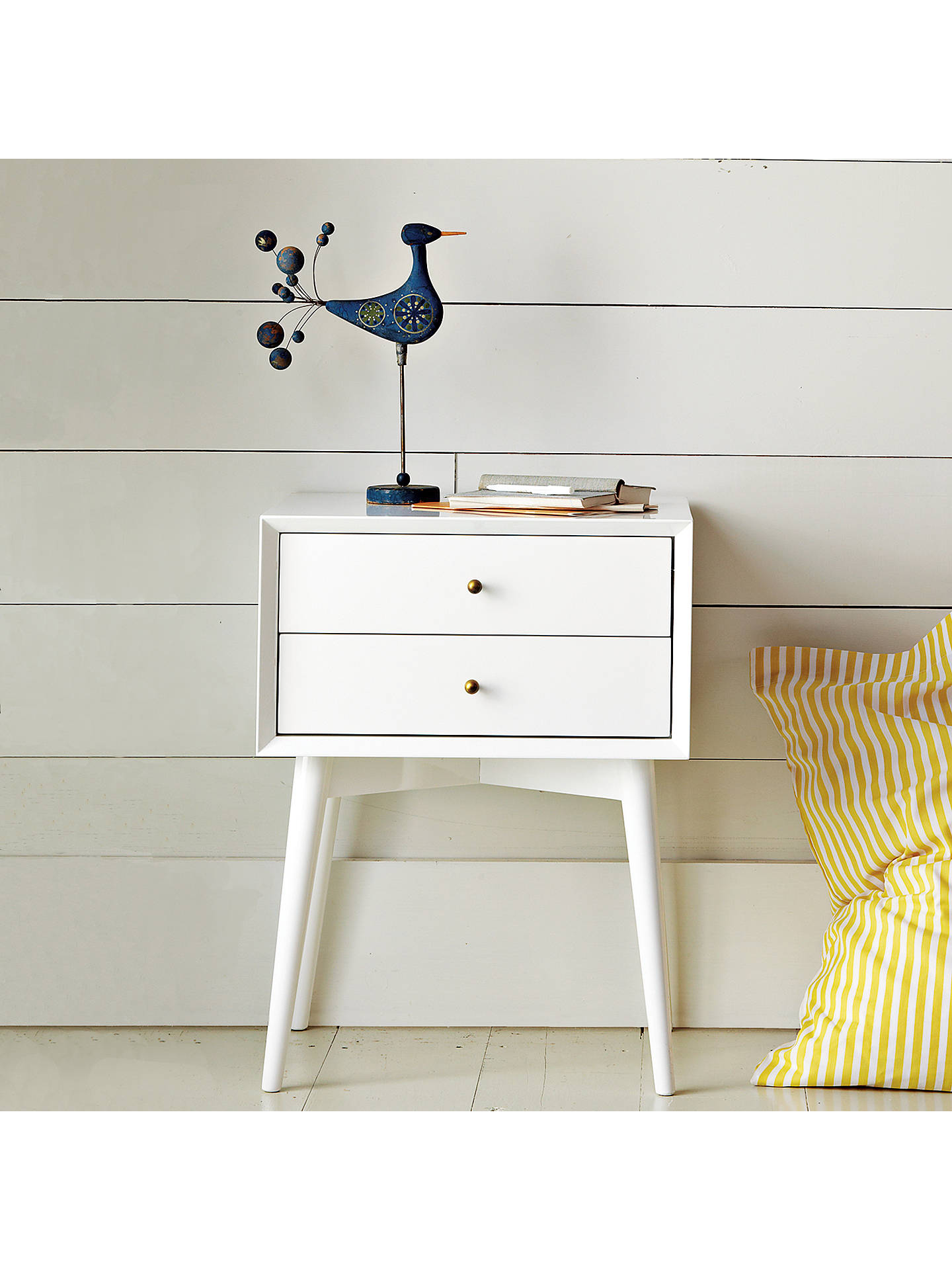 Buy west elm Mid-Century Bedside Table, White Online at johnlewis.com