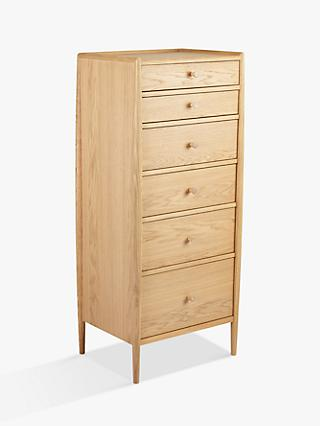 ercol for John Lewis Shalstone 6 Drawer Tallboy Chest