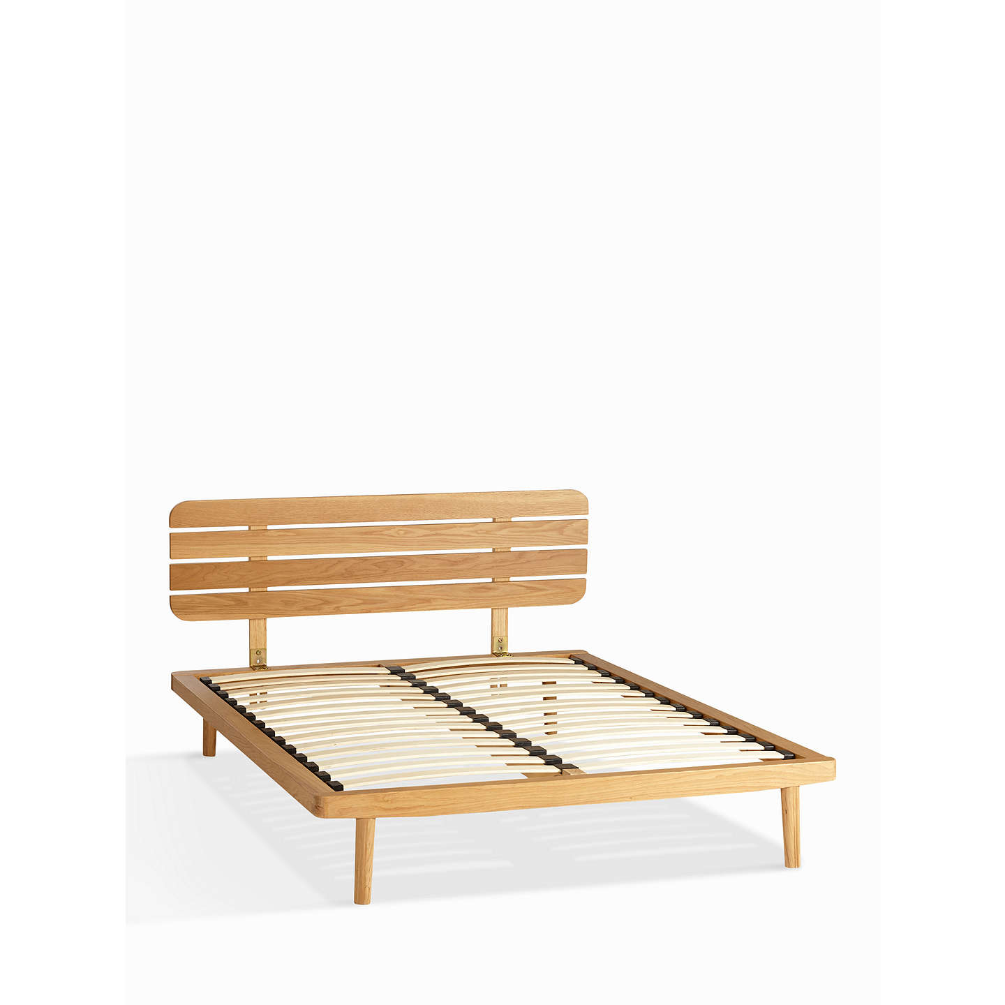 House by John Lewis Bow Slatted Headboard Bed Frame, Double, Oak at ...