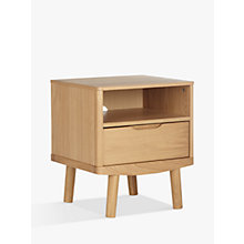Buy House by John Lewis Bow 1 Drawer Bedside Table, Oak Online at johnlewis.com