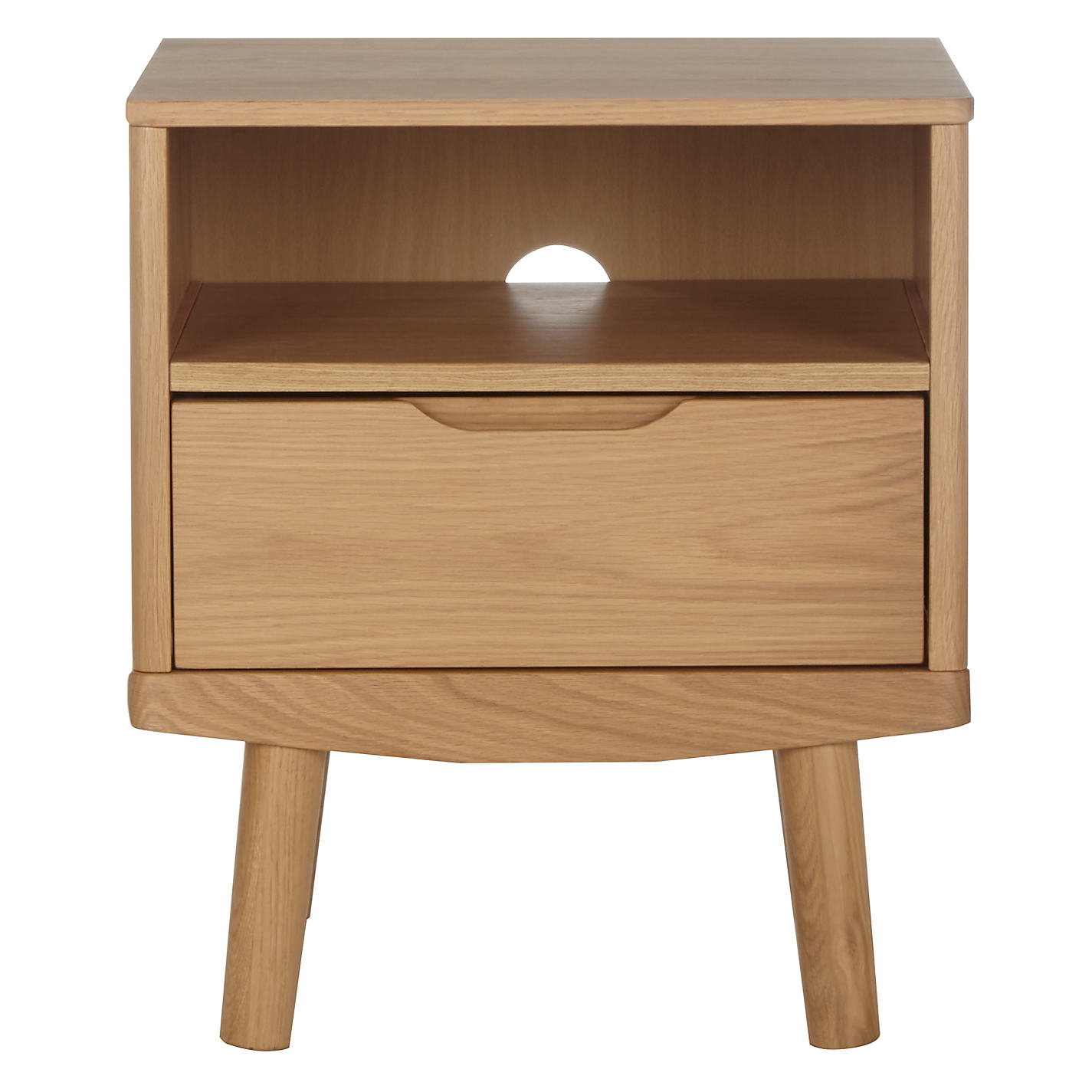 Buy House by John Lewis Bow 1 Drawer Bedside Table, Oak | John Lewis