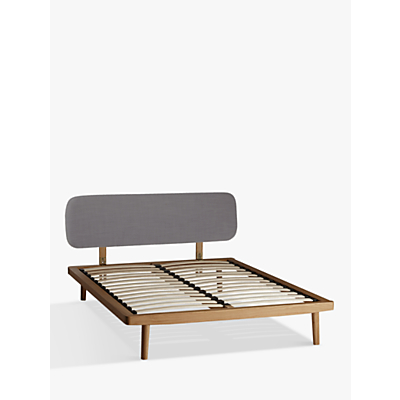 House by John Lewis Bow Upholstered Headboard Bed Frame, King Size, Oak/Grey