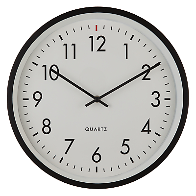 House by John Lewis Metal Wall Clock, Dia.36cm, Black