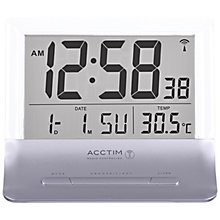 Buy Acctim Radio Controlled LCD Alarm Clock, Silver Online at johnlewis.com