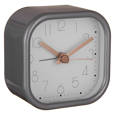 House by John Lewis Metal Square Alarm Clock