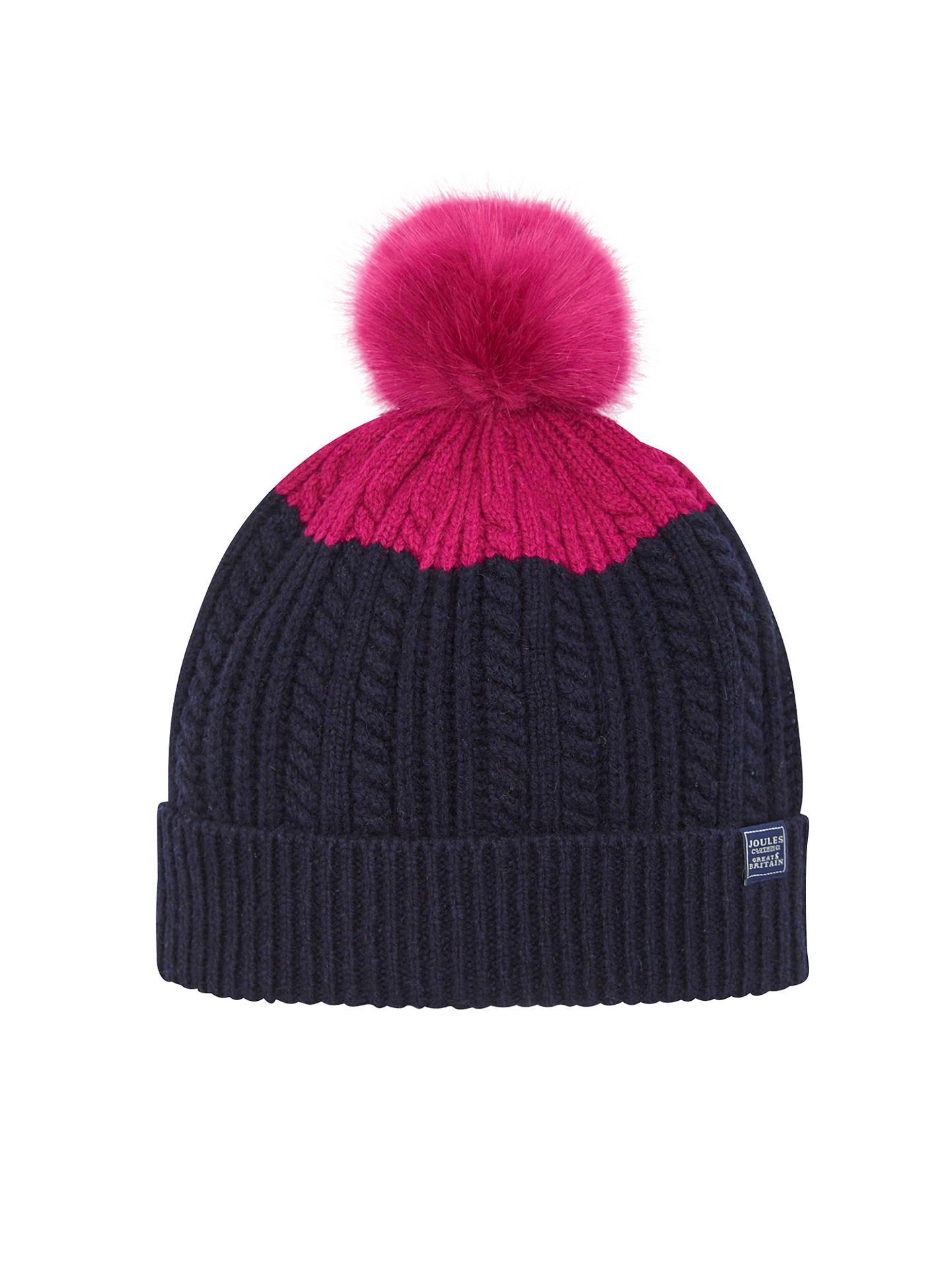 e9fa06e97 Joules Bobble Hat, Navy/Pink at John Lewis & Partners