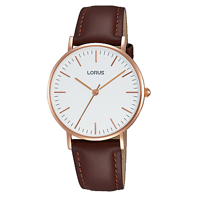 Lorus RH886BX9 Women's Leather Strap Watch, Brown/White