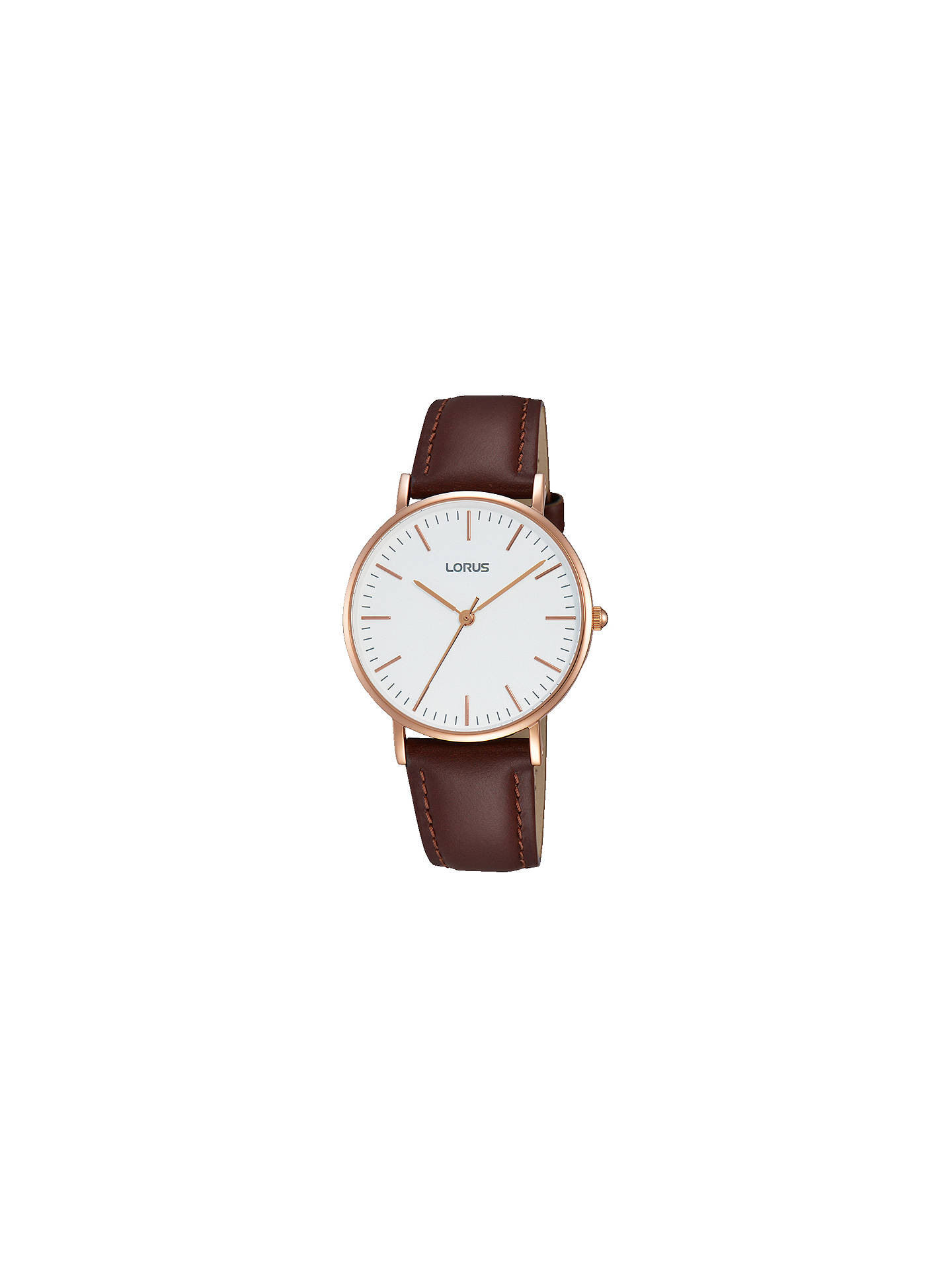 BuyLorus RH886BX9 Women's Leather Strap Watch, Brown/White Online at johnlewis.com