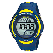 Buy Lorus R2339EX9 Men's Digital PU Rubber Strap Watch, Blue Online at johnlewis.com