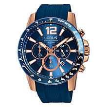 Buy Lorus RT392EX9 Men's Chronograph Date Silicone Strap Watch, Blue Online at johnlewis.com