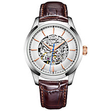 Buy Rotary GS05032/06 Men's Mécanique Skeleton Leather Strap Watch, Brown/Silver Online at johnlewis.com