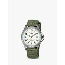 Buy Lorus RXD425L8 Men's Date Nylon Fabric Strap Watch, Military Green/Cream Online at johnlewis.com