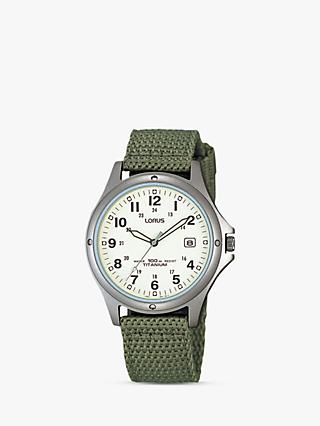 Lorus RXD425L8 Men's Date Nylon Fabric Strap Watch, Military Green/Cream