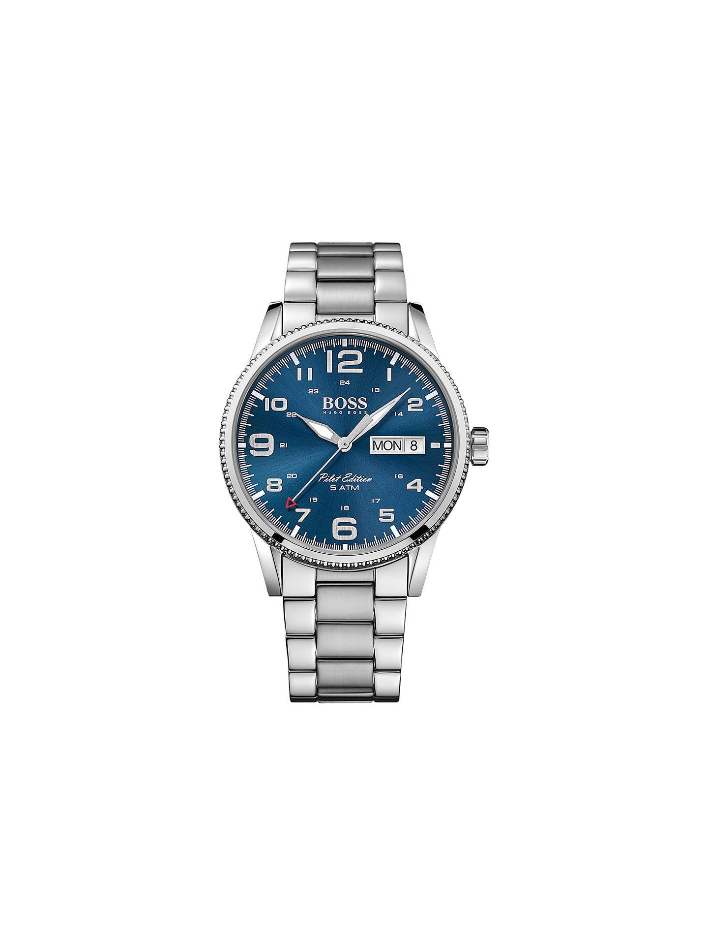 970231b08 Buy HUGO BOSS 1513329 Men's Pilot Vintage Day Date Bracelet Strap Watch,  Silver/Blue