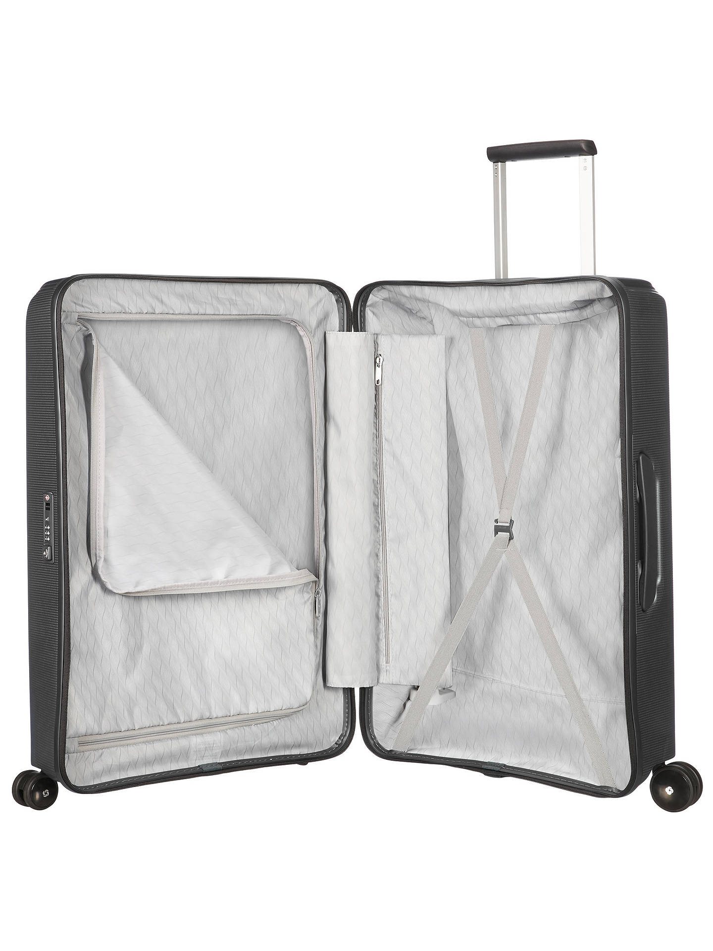BuySamsonite Optic 69cm 4-Wheel Spinner Suitcase, Metallic Black Online at johnlewis.com