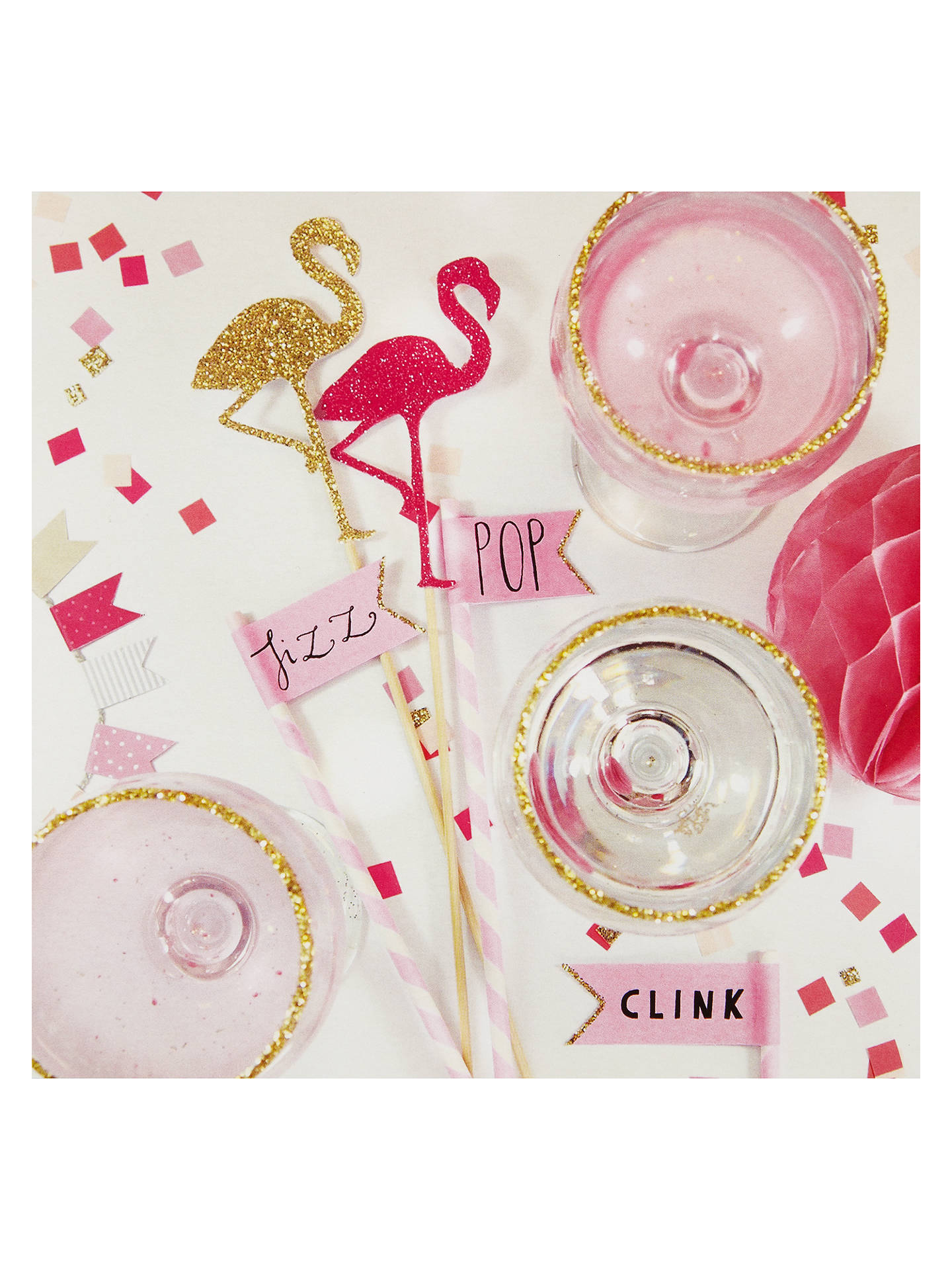 BuyCarte Blanche Flamingo & Cocktails Greetings Card Online at johnlewis.com